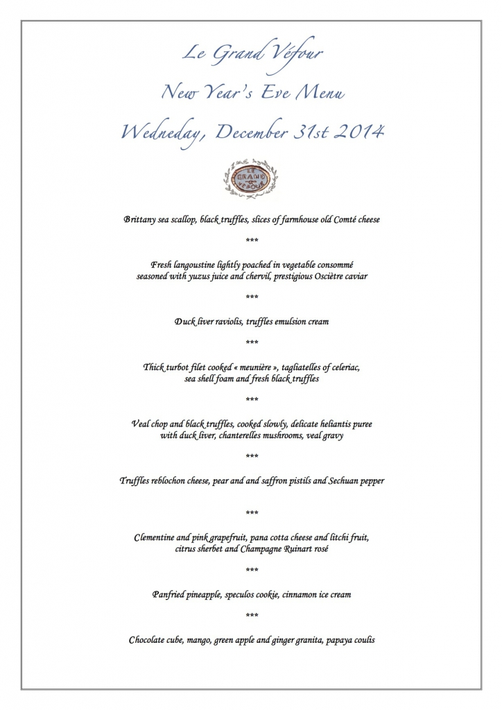 New Year's Eve Menu -December 31st 2014